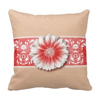 Gerbera Daisy Scroll Burlap 1 red bandeau
