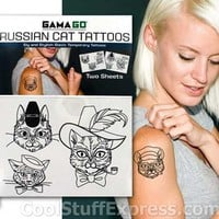 Russian Cat Novelty Temporary Tattoos, Fun & Unique Gifts