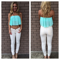 Mint Itsy Bitsy Crop Top
