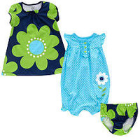 "Carter's Girls Flower & Dot 3-Piece Dress and Romper Set - Blue & Green (18 Months) - Carters - Babies ""R"" Us"
