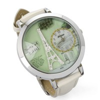 Silvery Eiffel Tower Watch in White