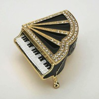 Black Piano Keepsake Box Swarovski Crystals Jewelry Trinket Pill Box Figurine Collectible