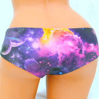 Black Hole Galaxy Nebula Space bikini boyshort swim bottoms or panties