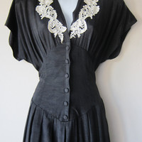 80s Does 40s Button Up Black Dress -- Plunging Neckline, Lace Detail, Fitted Bodice