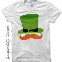 Iron on Leprechaun Shirt PDF - Red Mustache Iron on Transfer / Boys St Patrick's Day Outfit / Baby Leprechaun Hat Tshirt / Printable IT382-C