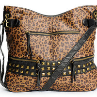 T-Shirt & Jeans Black & Leopard Print Faux Leather Tote Bag