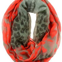 Sheer Leopard Meets Neon Splattered Infinity Scarf