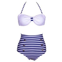 RETRO Stripe Swimsuits Suits Swimwear Vintage Bandeau HIGH WAISTED Bikini Set (Blue, Small)