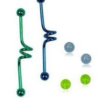 14 Gauge Blue and Green Anodized Industrial Barbell 2-Pack with Extra Balls