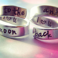 I love you to the moon and back set of two aluminum swirl version style rings 1/4 inch