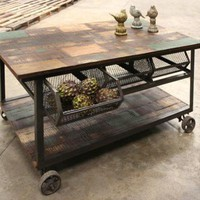 rustic kitchen trolley with iron wheels