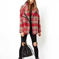 HOUSE OF HACKNEY for ASOS Biker Coat in Brushed Check