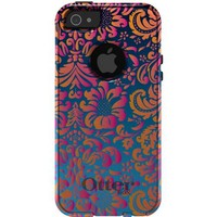 CUSTOM OtterBox Commuter Series Case for iPhone 5 5S - Blue Pink Orange Damask Flowers Floral