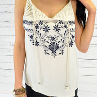 Sandy Springs Ivory Embroidered Tank