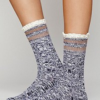 Free People Womens Rugby Ruffle Ankle Sock -