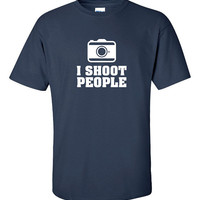 I Shoot People Funny T-Shirt Tee Shirt TShirt Mens Ladies Womens Youth Shirt Gifts Photographers Photography Camera Tee DT-068