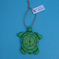 Peaceful TURTLE ORNAMENT, Artisan Carved Collectable Ornament