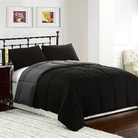 Cozy Beddings 3-Piece 88 by 88-Inch Reversible Down Alternative Comforter Set with Anti-Microbial Finish, Queen/Full, Black/Grey