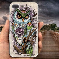 Sugar Skull Owl Tattoo-iPhone cases 4/4S Case iPhone 5/5S/5C Case Samsung Galaxy S3/S4 Case