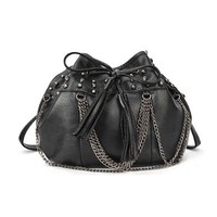 Skull Head Stud Tassels Chains Drawstring Shoulder Bucket Bag