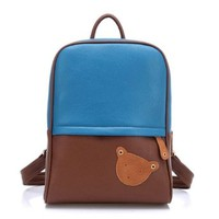 Color Block Cute Bear Backpack Square School Bag