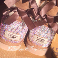 Swarovski Crystal Embellished Chestnut Bailey Bow Uggs - Chestnut Uggs with Bows and Crystals
