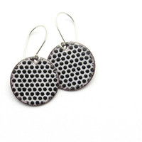 Black and White Enamel Earrings, Polka Dots, Copper and Sterling Silver