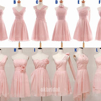 Blush pink bridesmaid dress, cheap bridesmaid dress, short bridesmaid dress, chiffon bridesmaid dress, RE087