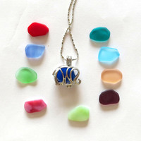 Mix it Up Sea Glass Elephant Necklace Locket