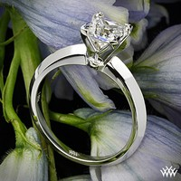 """18k White Gold """"Classic Knife-Edge"""" Solitaire Engagement Ring for Princess Cut Diamonds"""