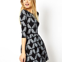 ASOS Skater Dress With Bird Print