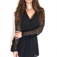 Black Long Sleeve Chiffon Romper with Lace Detail