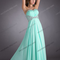 Long Beaded Sweetheart Cyan Chiffon Prom Dress Fashion Handmade Evening Gown Strapless Bridesmaid Dress New Prom Dress Wedding Party Dress