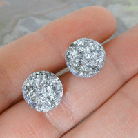 Iridescent Silver Druzy Post Earrings