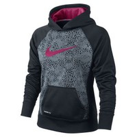 The Nike Printed Pullover Girls' Training Hoodie.