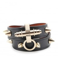 OBSEDIA STUDDED-LEATHER WRAP BRACELET