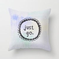 puerta project: just go Throw Pillow by watercolor & ink