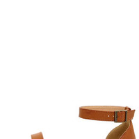 Bamboo Hearten 04 Chestnut Ankle Strap Sandals