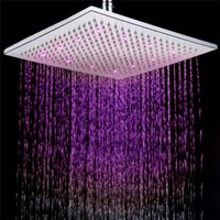 Square LED Shower Head Copper Brass Temperature Sensor 3 Color Sprinkler