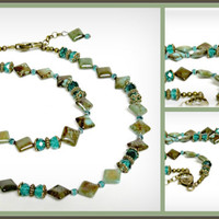 Green Brown Magnesite Necklace with Peacock Green Crystals and Bronze Plated Beads - Gemstone - Cypress - Camouflage