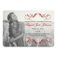 RED ELEGANT GRADUATION PHOTO ANNOUNCEMENT