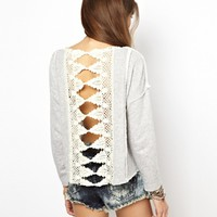 Free People Sweatshirt with Victorian Lace Detail