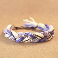 Purple friendship bracelet, braid bracelet with beads and chain, purple bracelet