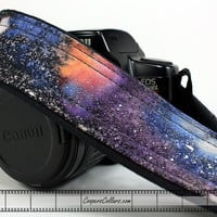 Galaxy Camera Strap, No. 136, Hand painted, One of a Kind, dSLR or SLR, Cosmos, Nebula, OOAK