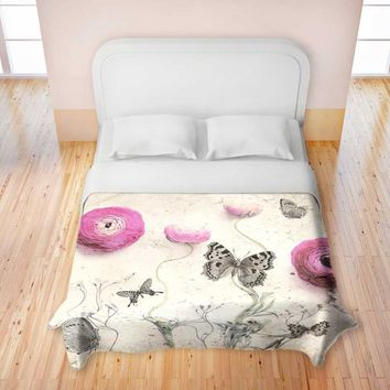 Duvet Cover Premium Woven Twin, Queen, King from DiaNoche Designs by Monika Strigel Unique, Cool, Fun, Funky, Artistic, Designer, Stylish Home Decor and Bedroom Ideas - Vintage Butterfly