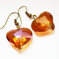 Heart crystal sparkly earrings unique fashion evening women earring