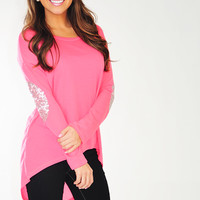 Make Me Sparkle Top: Neon Pink