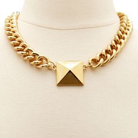 Pyramid Stud Chain Necklace