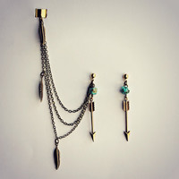 arrow ear cuff earrings with turquoise and feathers