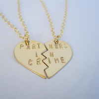 PARTNERS IN CRIME gold necklaces, hand-stamped, gold filled, bff, broken heart friendship necklaces